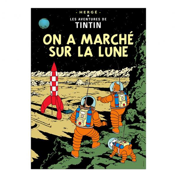 Affiche Tintin - On a Marché sur la Lune