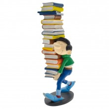 Figurine - Gaston carrying a pile of books