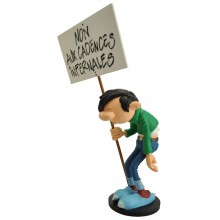 Figurine - Gaston holding his ''Cadences Infernales'' placard
