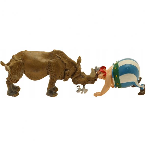 Figurine Pixi Obélix nez à nez avec le rhinocéros