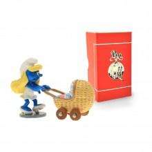 Figurine - PIXI ORIGIN - Smurfette with a baby carrier