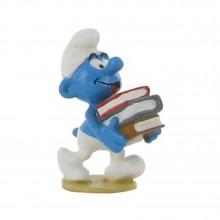 Figurine - Smurf with pile of books - Origin