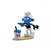 Figurine Pixi Black Smurf painting himself in blue