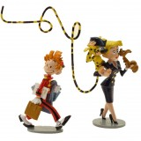 Figurine Pixi Spirou, Spip, le Marsupilami et l'hôtesse de l'air