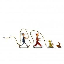 Figurine Pixi Spip, le Marsupilami, Spirou et Fantasio : 4 héros dans le vent