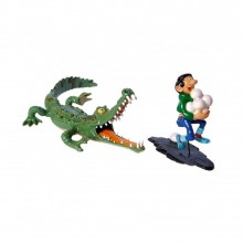 Figurine - Gaston being chased by a crocodile