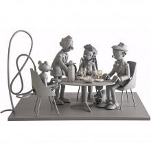 Figurine Spirou et Fantasio at the Tam Tam Bar (monochrome)