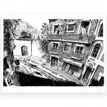 B&W Serigraph ''Main basse sur la ville'' No. 4 - Gomont