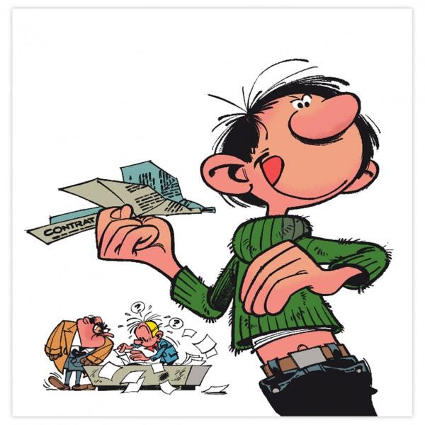 Sérigraphie - Gaston et l'avion en papier