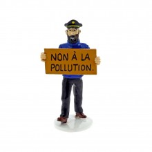 Figurine -Tintin Carte de Voeux 1972 - Haddock ''Non à la pollution''