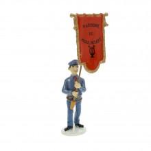 Tintin Carte de voeux 1972 - Le porte-drapeau de la fanfare