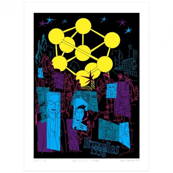 Silkscreen print Atomium : Bruxelles 1958 Dupuy-Berberian (signed)