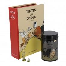 Box set Tintin: figurine, lithography and coffee (Leopard-man)