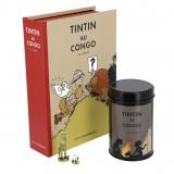 Pack Tintin au Congo - Figurine, Litho et Boite à café (Feu de camp)