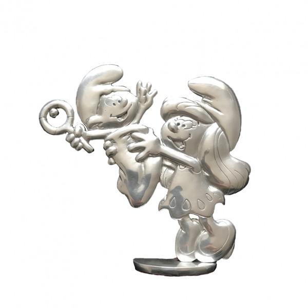 Tin figurine Smurfette and baby Smurf