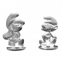 Tin figurine Smurfette walking with a Smurf