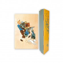 Affiche Tintin tenant les Albums