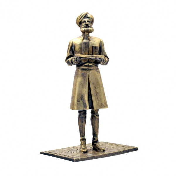 Nasir tenant son plateau - Pixi Bronze - Blake et Mortimer