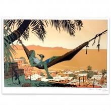 Silkscreen print Rio by Corentin rouge