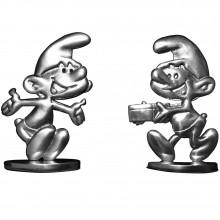 Duo set Schtroumpf vintage - Oh un cadeau pour moi - 2 figurines en étain