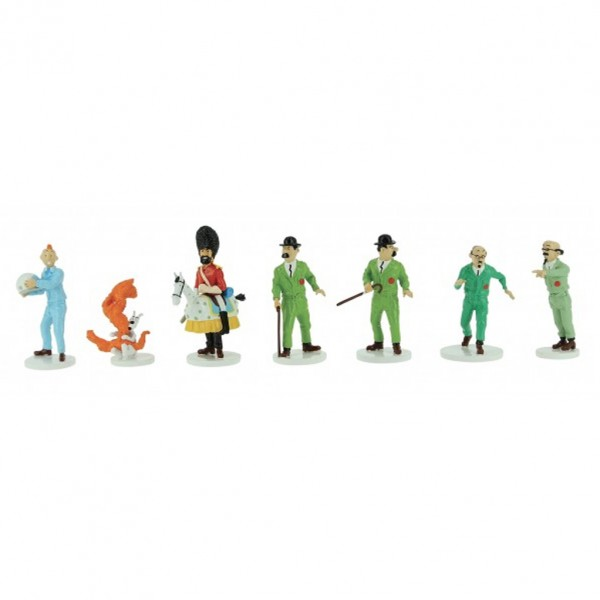 Coffret 7 figurines  Tintin Lune en métal