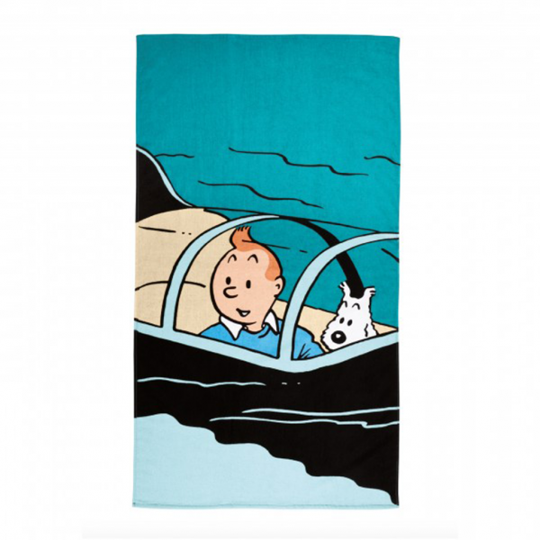 Drap de plage Tintin Sous-marin requin