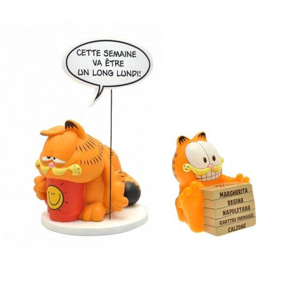 Figurine Pack Garfield Mini coin bank and Stack of Pizzas