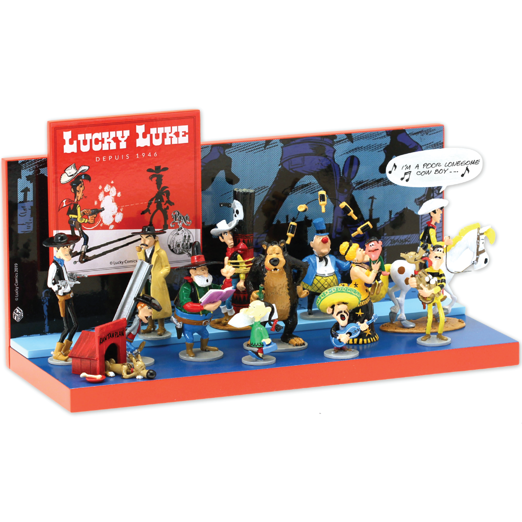 Lot de 13 figurines Lucky Luke Pixi Origine et Présentoir