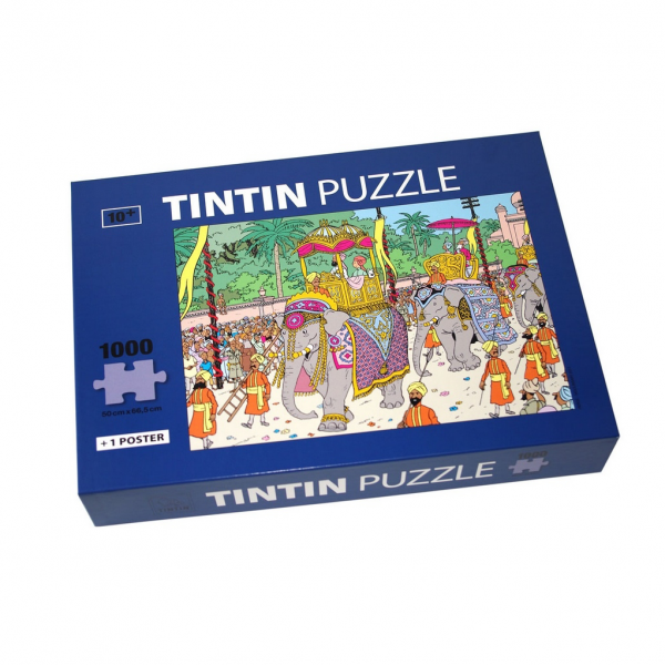 Puzzle Tintin Elephant Highness (1000 pieces) with a poster