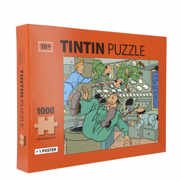 Puzzle Tintin is weightless (1000 pieces) with a poster