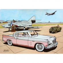 Aquarelle n°17 La Studebaker 1957 par Bergèse