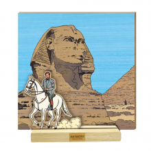 Wood scene Mortimer in front of the sphinx