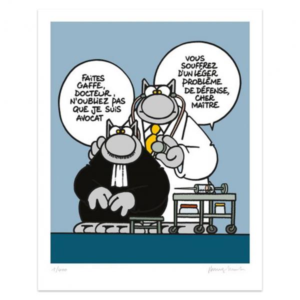 Silkscreen print The Cat Docteur Avocat (french)