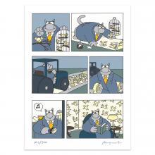 Silkscreen print The Cat, Birds