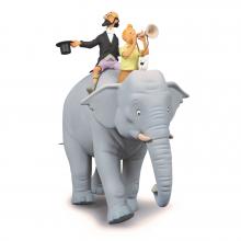 Tintin et Philémon sur un éléphant - statuette résine 37 cm