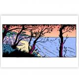 Silkscreen print La dernière rose de l'été Plage au soleil couchant