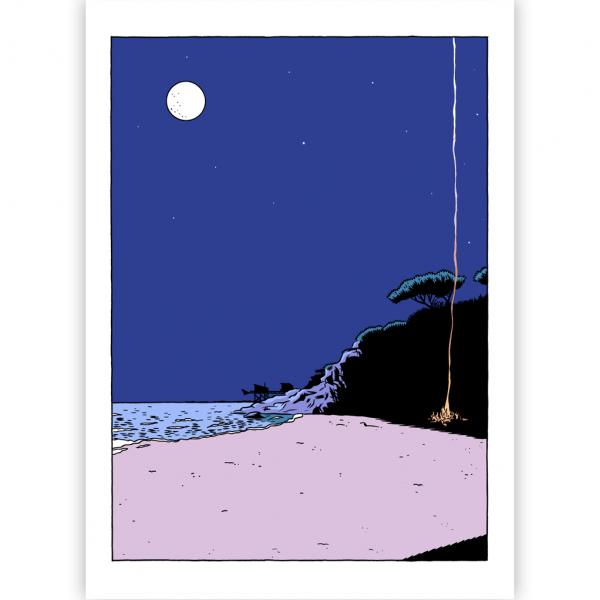 Silkscreen print La dernière rose de l'été Le feu dans la nuit