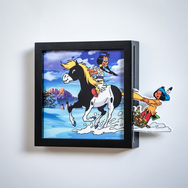 Funky Frames Mini Yakari - Glissade avec Petit Tonnerre - Noir