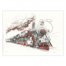Lithographie Spirou chez les Soviets couleurs