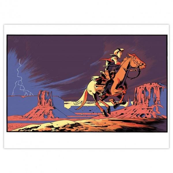 Silkscreen Lucky Luke from Matthieu Bonhomme, Lightning