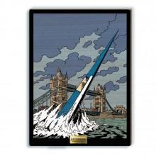 Tableau en bois Blake et Mortimer, L'Espadon surgit de la Tamise devant Tower Bridge
