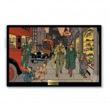 Tableau en bois Blake & Mortimer, Une rue animée de Londres