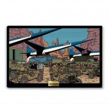 Panel painting - Evacuation des Espadons de la base