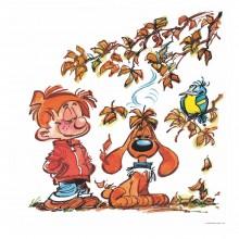 Boule et Bill en automne (Dibond 40x40cm)