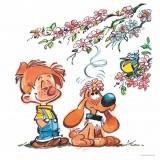 Boule et Bill au printemps (Dibond 40x40cm)