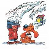Boule et Bill en hiver (Dibond 40x40cm)