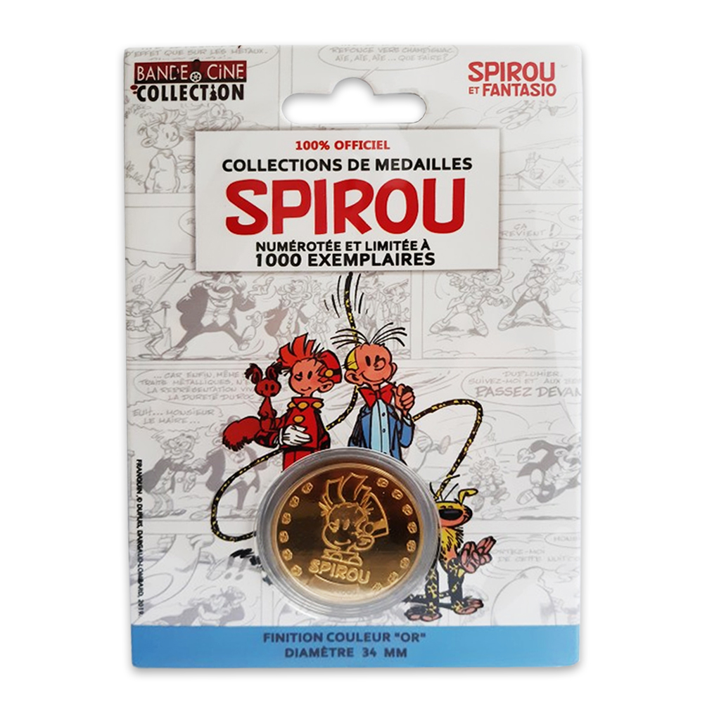 Médaille de Collection - Spirou et Fantasio - Couleur Or
