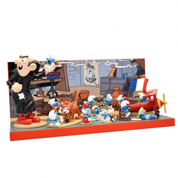Figurine Pixi Smurf wooden display