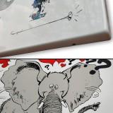 Gaston et l'éléphant - Plaque émaillée
