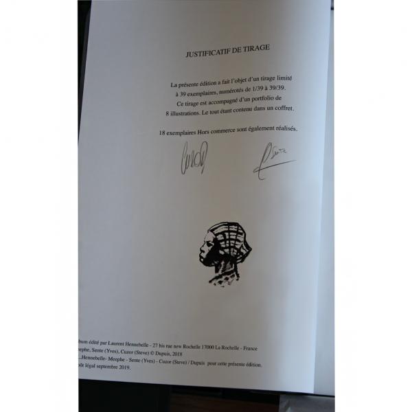 Tirage de tête Cinq branches de coton noir signé